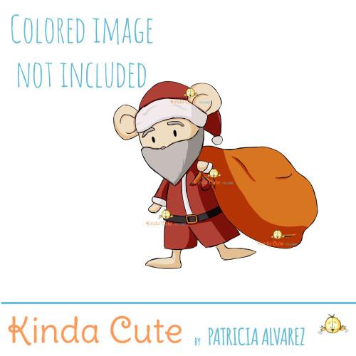 Mouse Santa Claus Digital Stamp