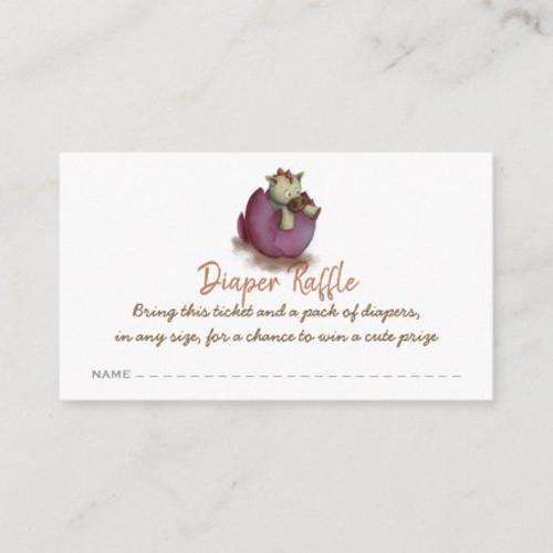 Purple dinosaur diaper raffle ticket enclosure card