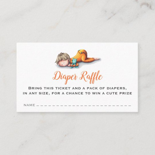 Neutral diaper raffle cards with a baby sleeping
