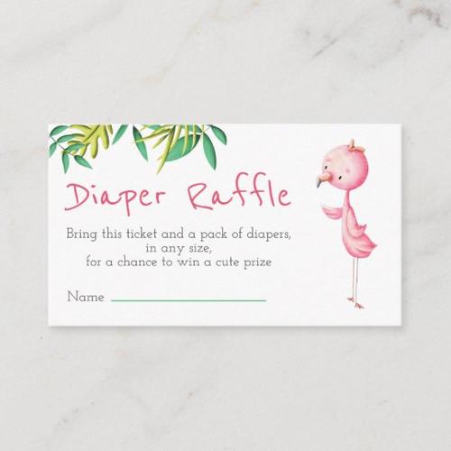 Tropical Summer Flamingo Diaper Raffle Enclosure Card