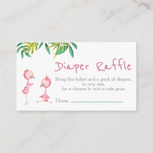 Tropical Summer Twin Flamingos Diaper Raffle Enclosure Card