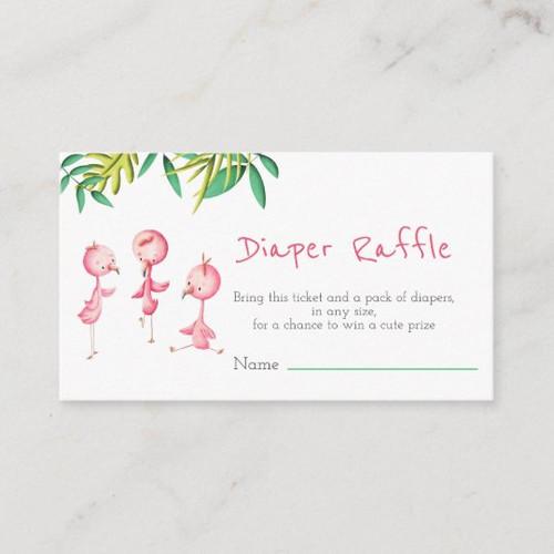 Tropical Summer Triplets Flamingo Diaper Raffle Enclosure Card