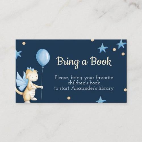 Baby Boy Dragon with Balloon Bring a Book ticket Enclosure Card