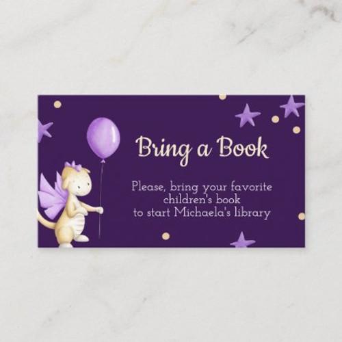 Baby Girl Dragon with Balloon Purple Bring a Book Enclosure Card