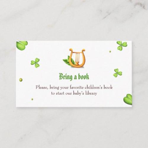 Irish Clovers and Golden Harp Bring a book Enclosure Card