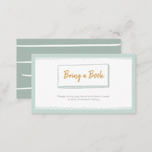 Modern Minimalist Mint Bring a Book Baby Shower Enclosure Card