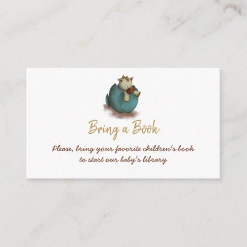 Neutral bring a book card with a dinosaur hatching