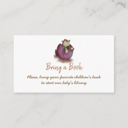 Purple bring a book card with a dinosaur hatching
