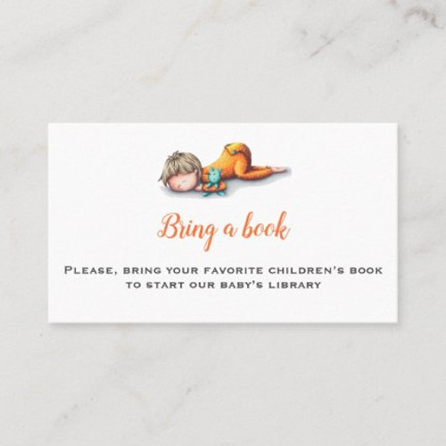 Neutral bring a book baby shower card with a baby sleeping