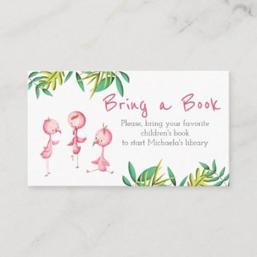 Tropical Triplet Baby Shower Flamingo Bring a Book Enclosure Card