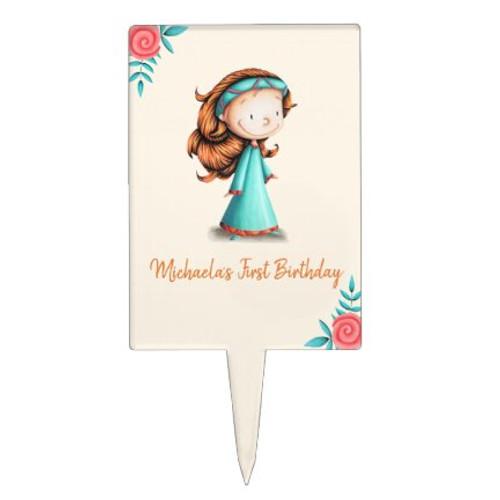Personalized princess birthday cake topper