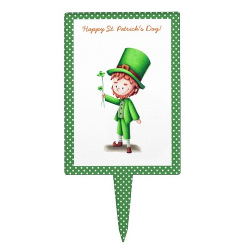 Happy St Patrick's Day Leprechaun and Clover Green Cake Topper