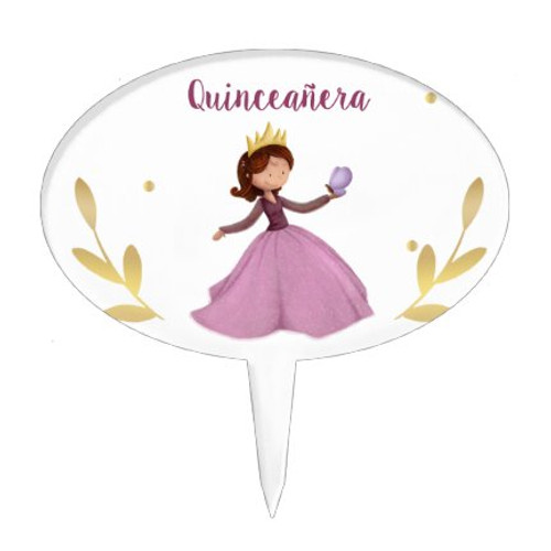 Princess with butterfly pink quinceanera Cake Topper