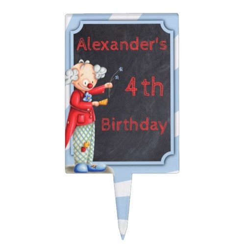 Personalized Circus Theme With Clown Cartoon Cake Topper