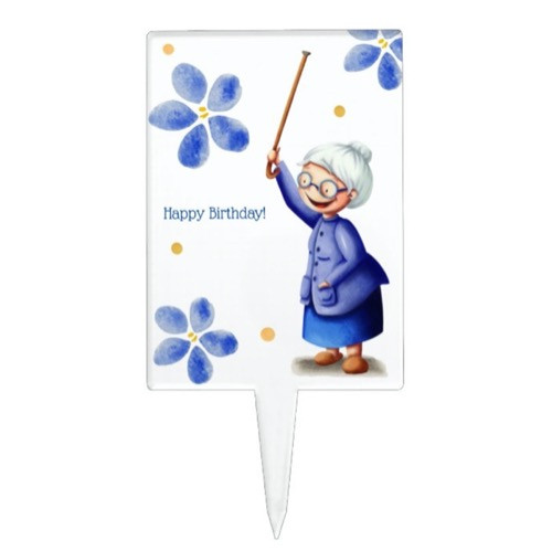 White and Blue Grandmother Smiling Birthday Cake Topper