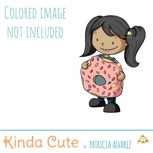 Girl in a Donut Costume Digital Stamp