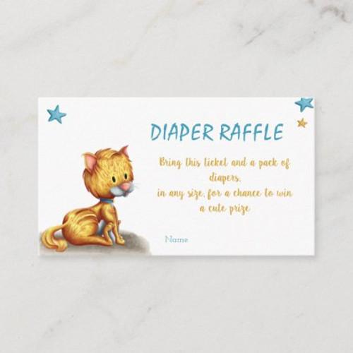 Cute Kitten Diaper Raffle Boy Baby Shower Enclosure Card
