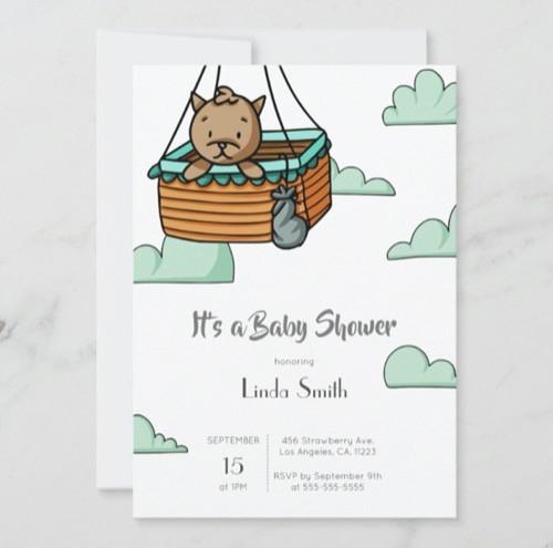 Brown Cat in Ballon Basket Neutral Baby Shower Invitation