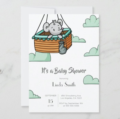 Cute Mouse in Ballon Basket Neutral Baby Shower Invitation