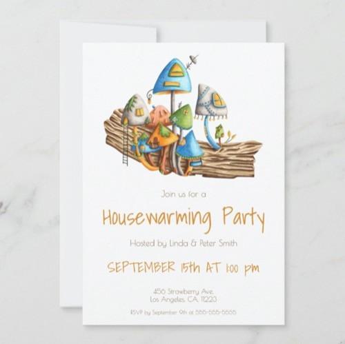 Cute Mushroom Village Illustration Housewarming Invitation