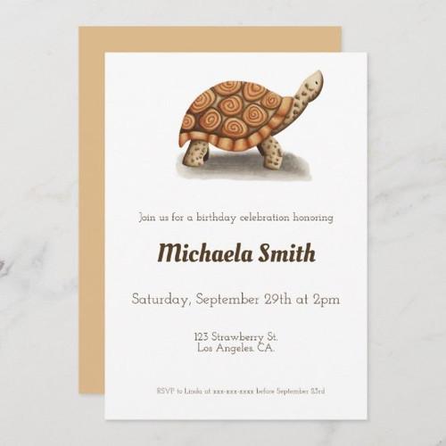 Minimalist Tortoise Sepia Brown Personalized Birthday Invitation