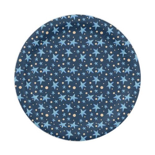 Navy blue with blue stars and yellow dot patterned Paper Plate