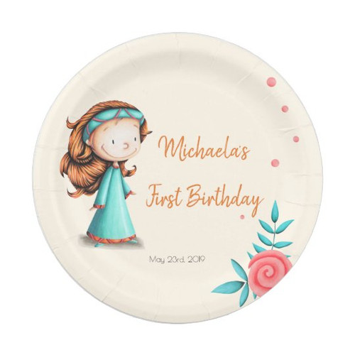 Princess Party First Birthday Personalized Paper Plate
