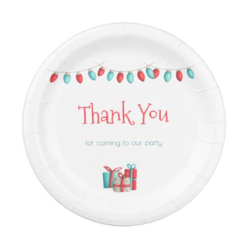 Christmas Lights Thank you Party paper plates