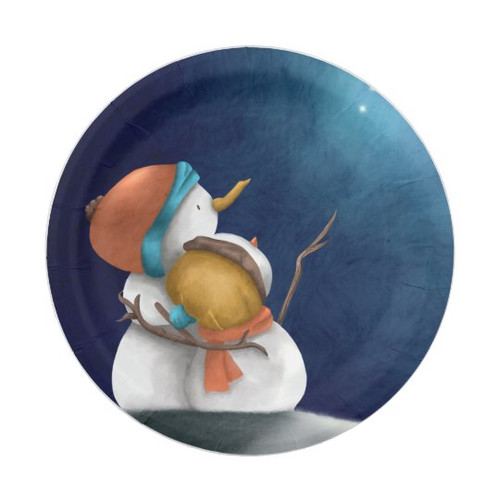 Cute snowmen at night seeing the stars Christmas Paper Plate