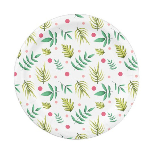 Tropical Floral Green and Pink Summer Paper Plate