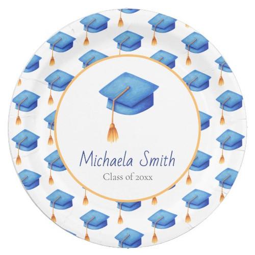 Cute Blue Graduation Cap Patterned Personalized Paper Plate