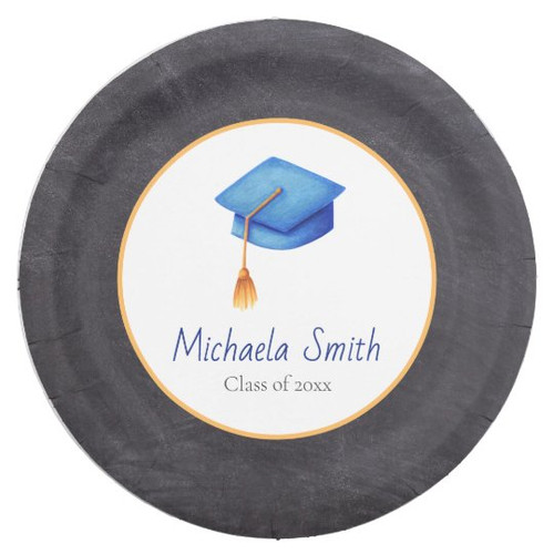High School Graduation Cap Patterned Personalized Paper Plate
