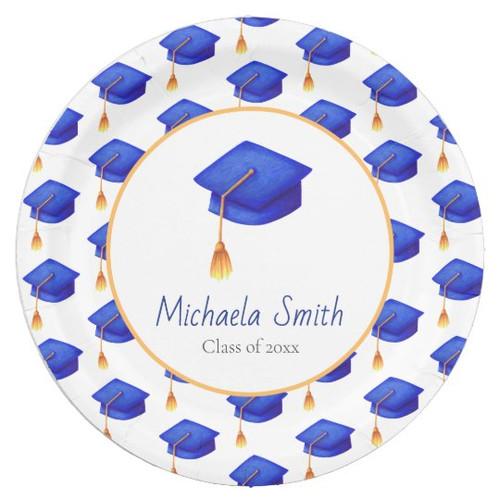 Royal Blue Graduation Cap Patterned Personalized Paper Plate