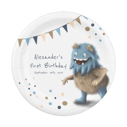 Cute Monster First Birthday Paper Plates