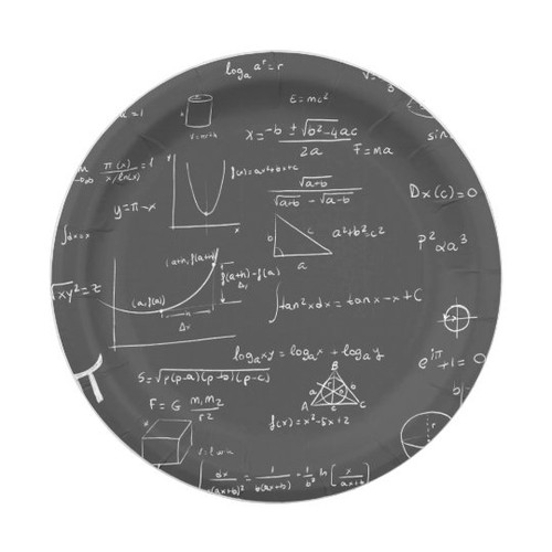 Black and white math equations and graphics Paper Plate