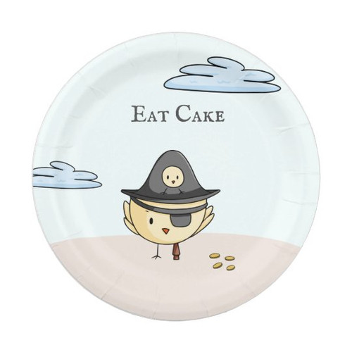 Eat Cake Cute Pirata Themed Party Personalized Paper Plate
