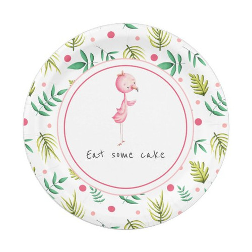 Cute Flamingo Party Personalized Paper Plate