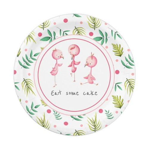 Eat Cake Tropical Floral Flamingo Party Paper Plat Paper Plate