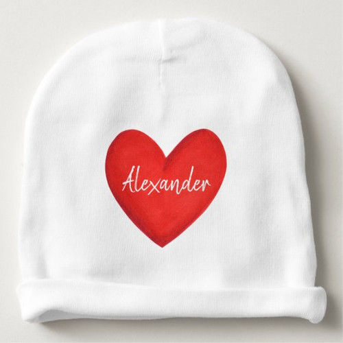 Personalized minimalist big red heart with name Baby Beanie