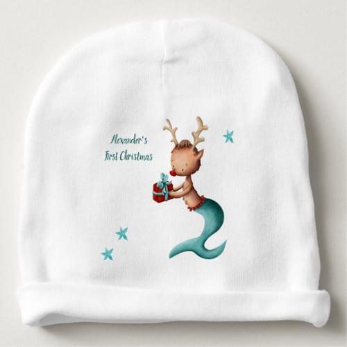 Personalized First Christmas Mermaid Reindeer Baby Beanie