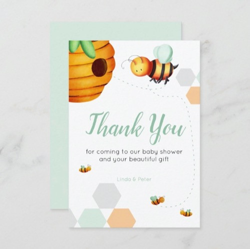 Bee Baby Shower Green Neutral Thank You Card
