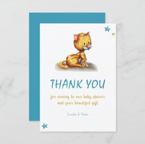Minimalist Kitten Blue Baby Shower Thank You Card