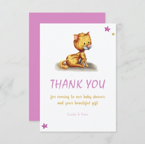 Minimalist Kitten Pink Baby Shower Thank You Card