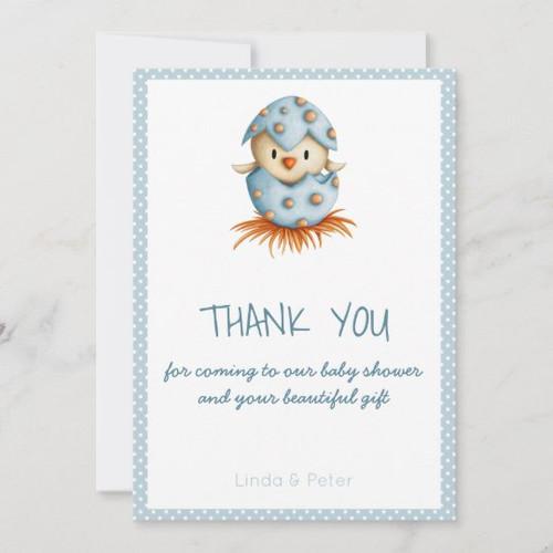 Cute Bird Hatching Boy Baby Shower Thank you Card