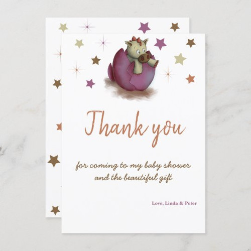 Baby shower thank you card for baby girls.