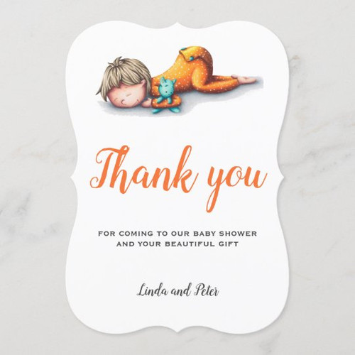 Neutral baby shower thank you card with a baby