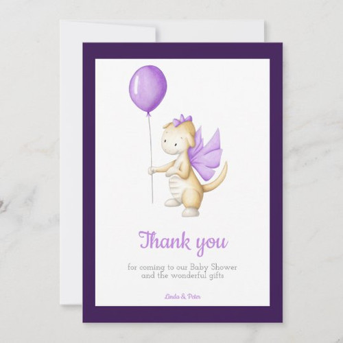 Cute Purple Baby Dragon Baby Shower Thank You Card