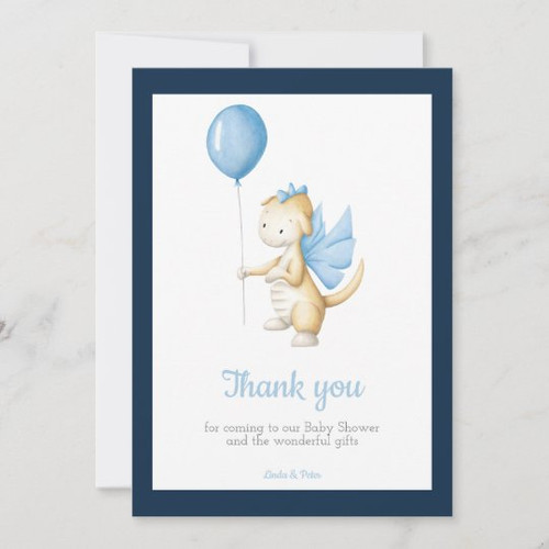 Adorable baby dragon baby shower thank you card