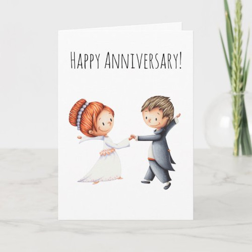 Wedding anniversary card with a couple dancing