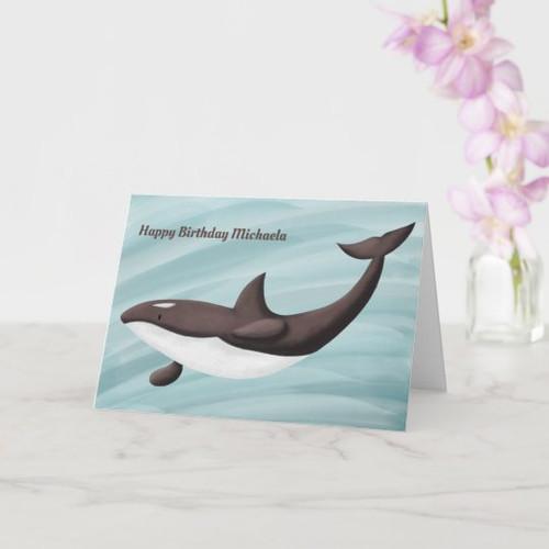 Elegant Orca Swimming Personalized Birthday Card